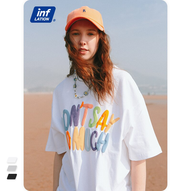 INF Men's Clothing | 2021spring/Summer New Street Cool Foam Printed Colorful Letters Loose Short Sleeve Men's T-shirt