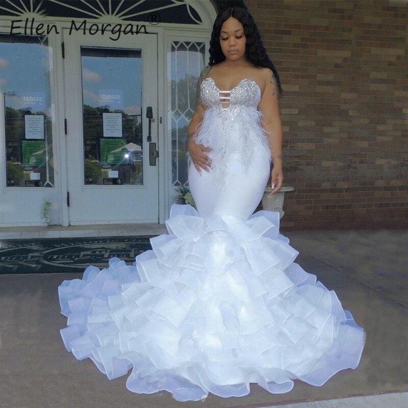أبيض مثير الحبيب حورية البحر فساتين الزفاف الأفريقي الأسود بنات فاخرة بلورات الخرز الريش الأورجانزا زي العرائس النساء