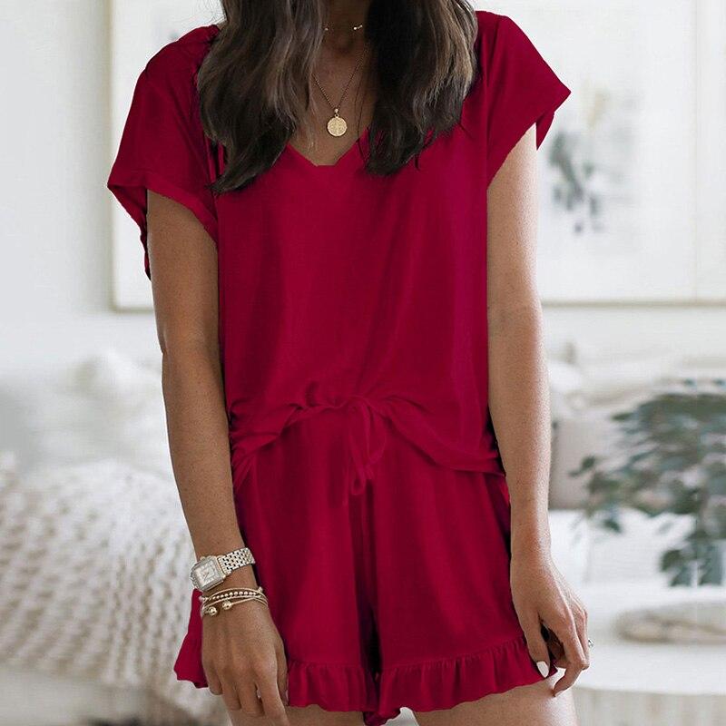 Summer Lounge Wear Nightgown Female Pajama Short Set Home Clothes Loose Sleepwear Women Short Sleep