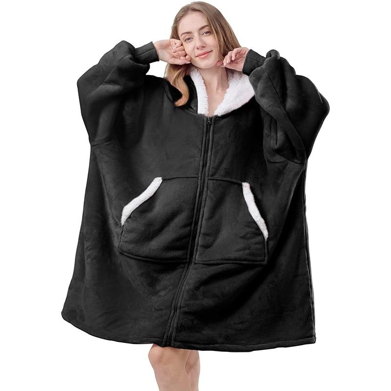 Übergroße Pullover Frauen Zipper Riesen TV Decke Mit Ärmeln Hoodies Sweatshirts Winter Fleece Frauen Kleidung Sudadera Gigante Hoodies & Sweatshirts    -