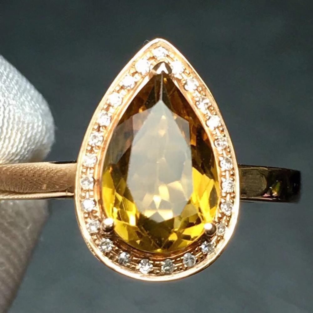 Anillo de turmalina CT joyería fina de oro puro de 18 K anillos de turmalina amarilla Natural para mujer anillos