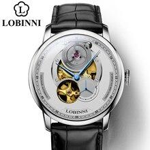 Montre mécanique automatique LOBINNI montre homme montre homme en cuir bracelet en acier inoxydable montre-bracelet de luxe