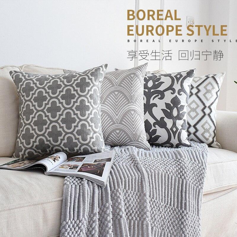 Cojín de lujo bordado en color gris de 45x45cm, cojín nórdico de color sólido, cojín decorativo para Super Lujo, almohada suave, cojín para sofá