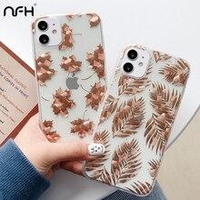 Paillettes propre arbre feuille dérable téléphone IMD pour iPhone 11 Pro Max XR XS Max 7 8 Plus de luxe plaqué or couverture sur SE 2020