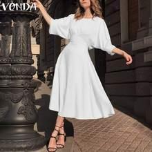 VONDA Büro Dame Lange Kleid 2020 Sommer Sommerkleid Frauen Böhmischen Casual Lose Robe Vintage Halbe Hülse Kleid Plus Größe Vestido