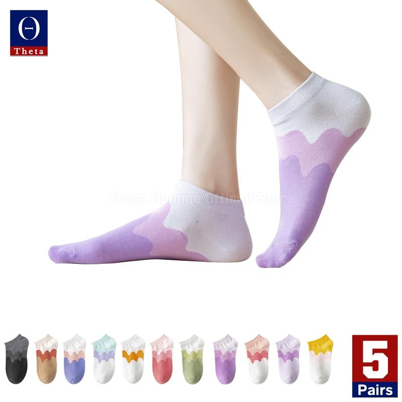 THETA – chaussettes d'été en coton pour femmes, 5 paires, colorées arc-en-ciel, coupe basse, avec motif, Style Preppy, bas fantaisie, prix bas, vente en gros