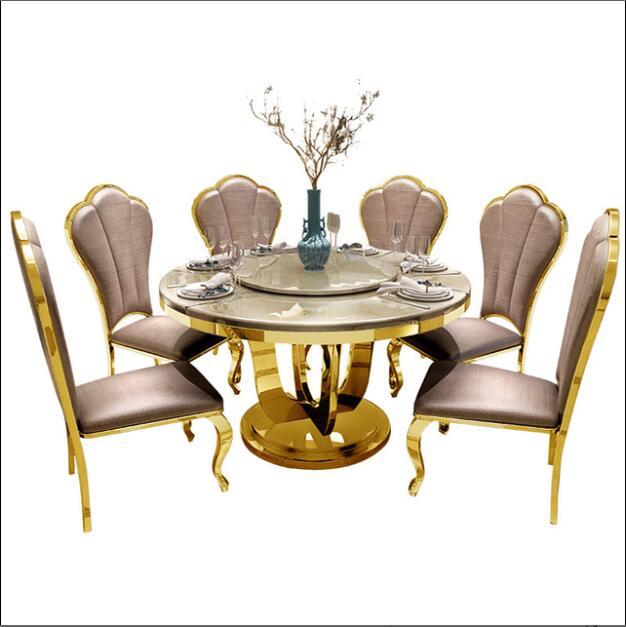طاولة طعام مستديرة ذات سطح رخامي ومجموعة كرسي لأثاث غرفة الطعام المنزلية