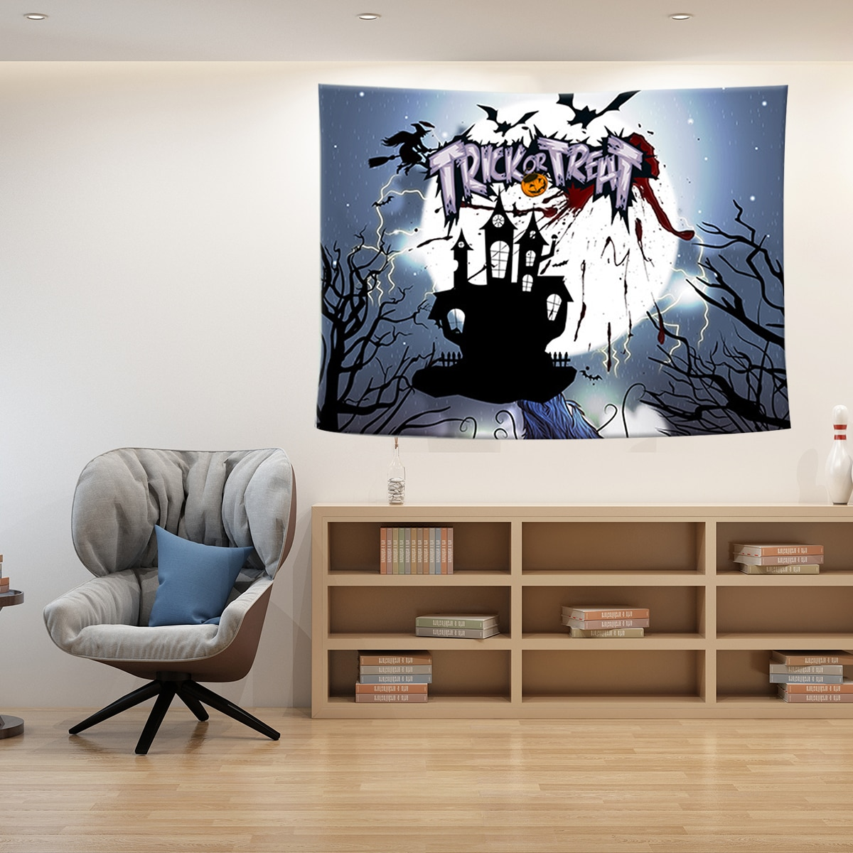 Halloween Wall Hanging Tapestry Home Dorm Party Decor 200cm x 150cm Halloween theme pattern 2019