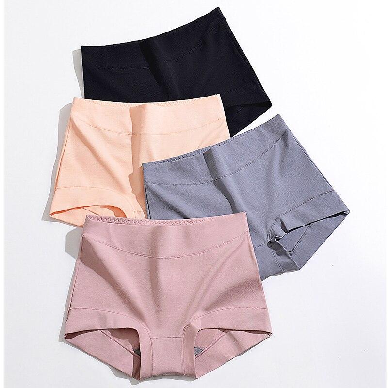 Cintura alta mulheres boxer calças de algodão underwear barriga grafeno virilha tamanho grande outono inverno