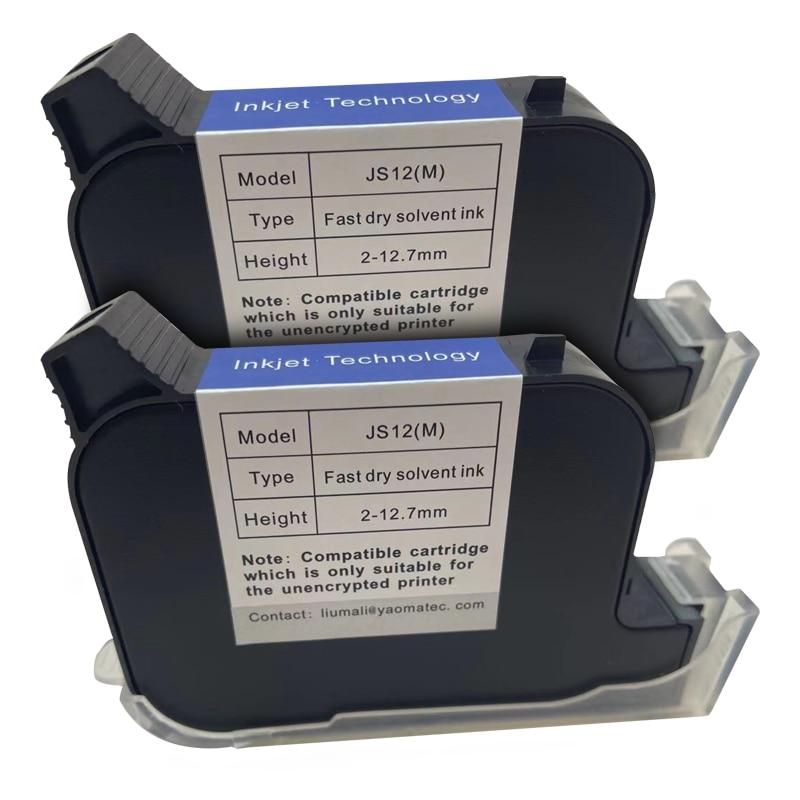 2pcs JS12 Handheld Printer Ink Cartridge Fast Dry Eco Solvent 600DPI Print Height 12.7mm Inkjet Printer Colorful Ink Cartridge
