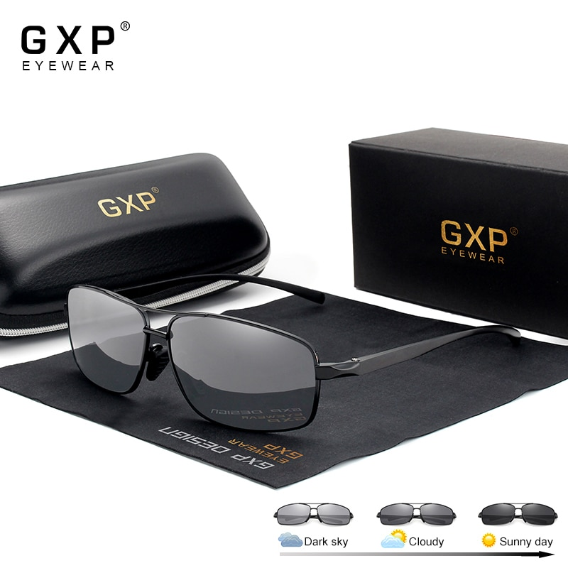 GXP Aluminum Magnesium HD Photochromic Sunglasses Men Polarized UV400 Glasses Male Sun Glasses Day N