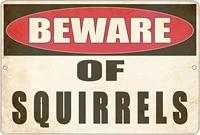 metal tin sign wall decor man cave bar yard wall warning beware of squirrels