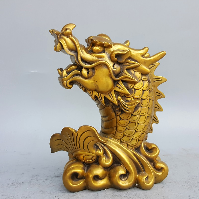 Sudeste da Ásia Dragão de Cobre Grande Empresa Escritório Deco Home Store Trazer Riqueza Dinheiro Boa Sorte Mascote Peixe Feng Shui Estátua