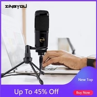 100 original zingyou usb microphone for computer gaming chatting mic with stand tripod metal condenser microphone 009