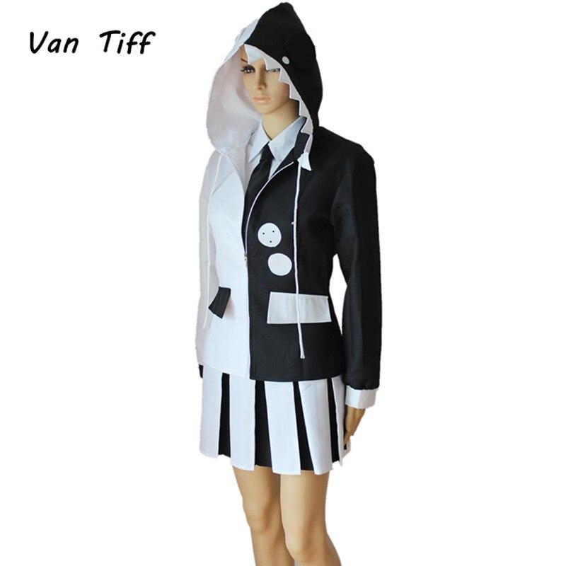 Anime Cartoon uniforme Danganronpa Monokuma Cosplay disfraces falda con pelucas sintéticas para chicas chicos fiesta