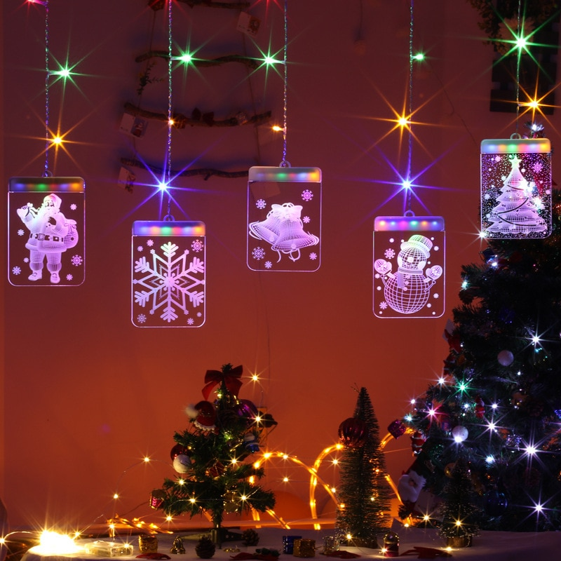 USB LED Light String Luminous letters Fairy Santa Claus Christmas Garlands Curtain Lights For Party Wedding Home Holiday Decor
