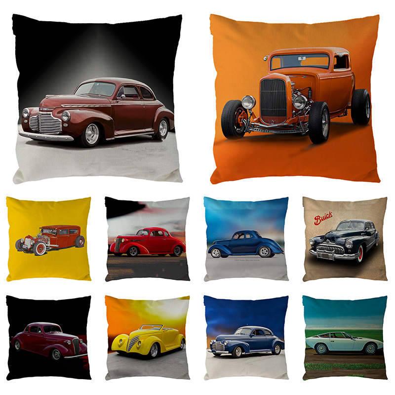 45cm*45cm Vintage Cotton Linen Cartoon Auto Printing Pillowcase For Fashion Bar Pillow Cover Household Hug Pillow Covers 1723