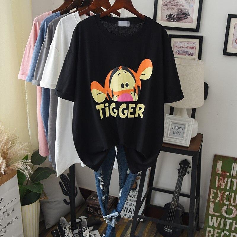 2020 verano algodón Delgado Tee mujeres de gran tamaño de dibujos animados gráficos largos Casual camiseta femenina Maxi camiseta de gran tamaño de manga corta