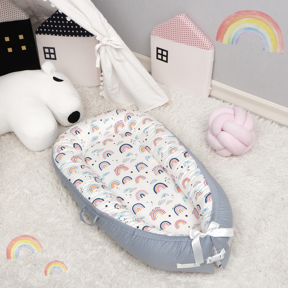 Baby Nest Sleeping Bed Portable Crib Travel Bed Infant Toddler Cotton Cradle for Newborn Baby Bed Bassinet 90*50cm enlarge