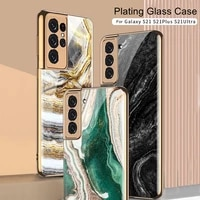 for samsung galaxy s21 plus ultra 5g fashion plating soft tpu frame retro marble hard glass back phone case cover