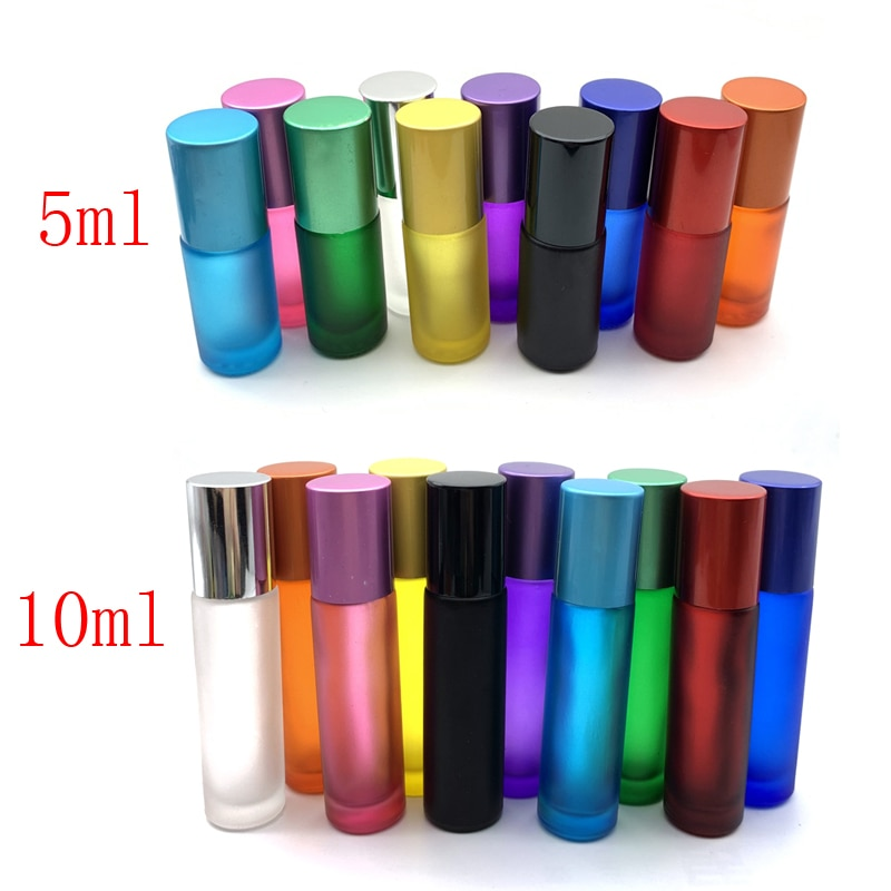 1X Portable Travel Essential Oil Vial 10ml Perfume Roller Ball Bottles Roller Refillable Frosted Colorful 5ml Thick Glass Bottle