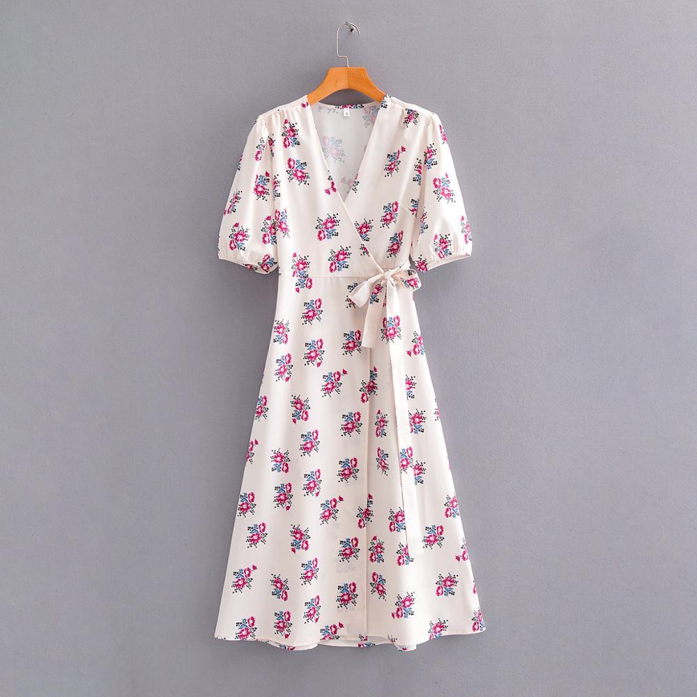 ¡Novedad de 2020! Vestido acampanado con estampado de flores y cuello en v cruzado A la moda para mujer, vestidos ceñidos informales DS3603