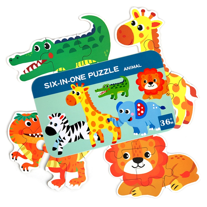 Wooden Puzzle Toys for Children Wood Jigsaw Baby Educational Christmas Gift Iron Storage Box Animal Puzzle Montessori Material недорого