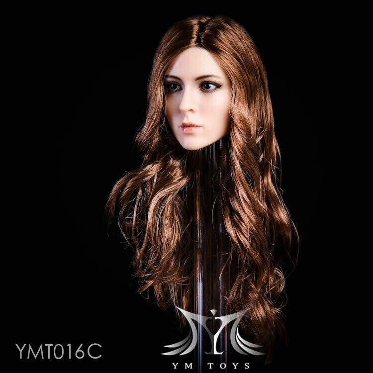 "YMTOYS YMT016A 1/6 Female Head Sculpt BLACK SHORT Hair for 12"" PHICENS Figure"