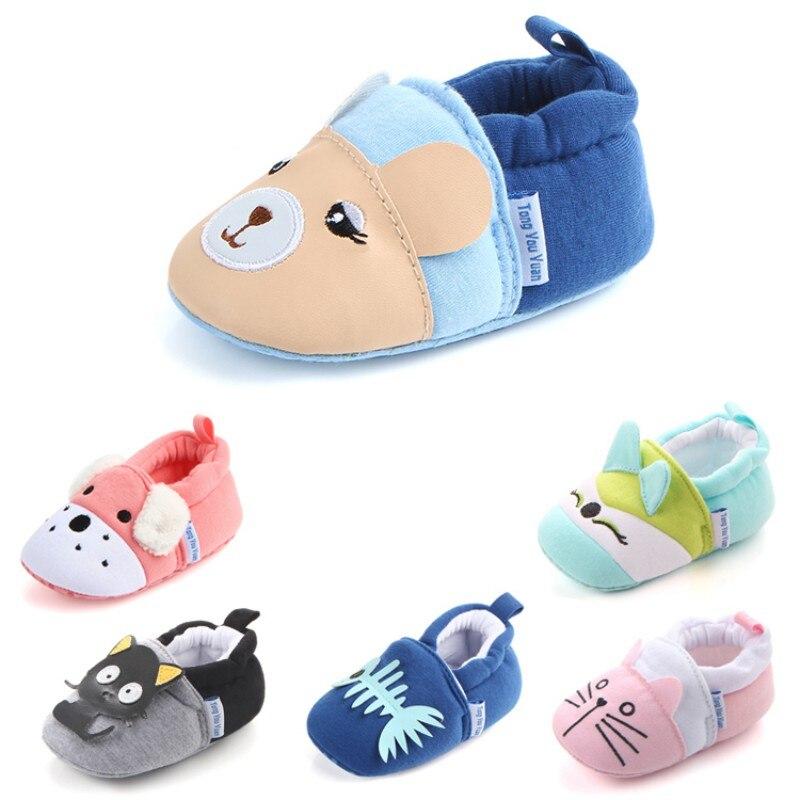 Baby Boy Girl First Walker Indoor Cotton Shoes Kids Home Slippers Children Cute Cartoon Thickening W