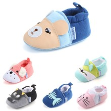 Baby Boy Girl First Walker Indoor Cotton Shoes Kids Home Slippers Children Cute Cartoon Thickening W