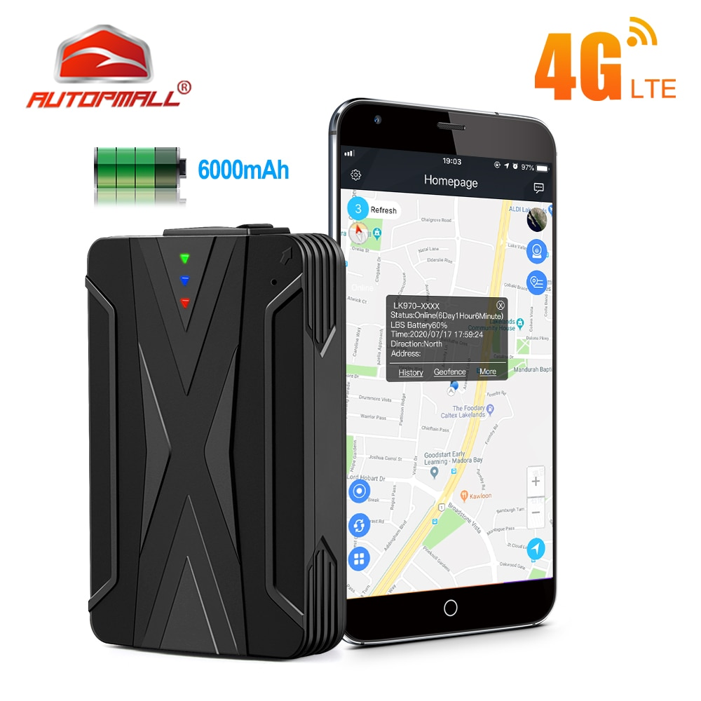4G Car Tracker GPS Locator 6000mah 60 Days Standby Voice Monitor Vehicle GPS Tracker Waterproof IP65 Magnets Drop Shock Alarm