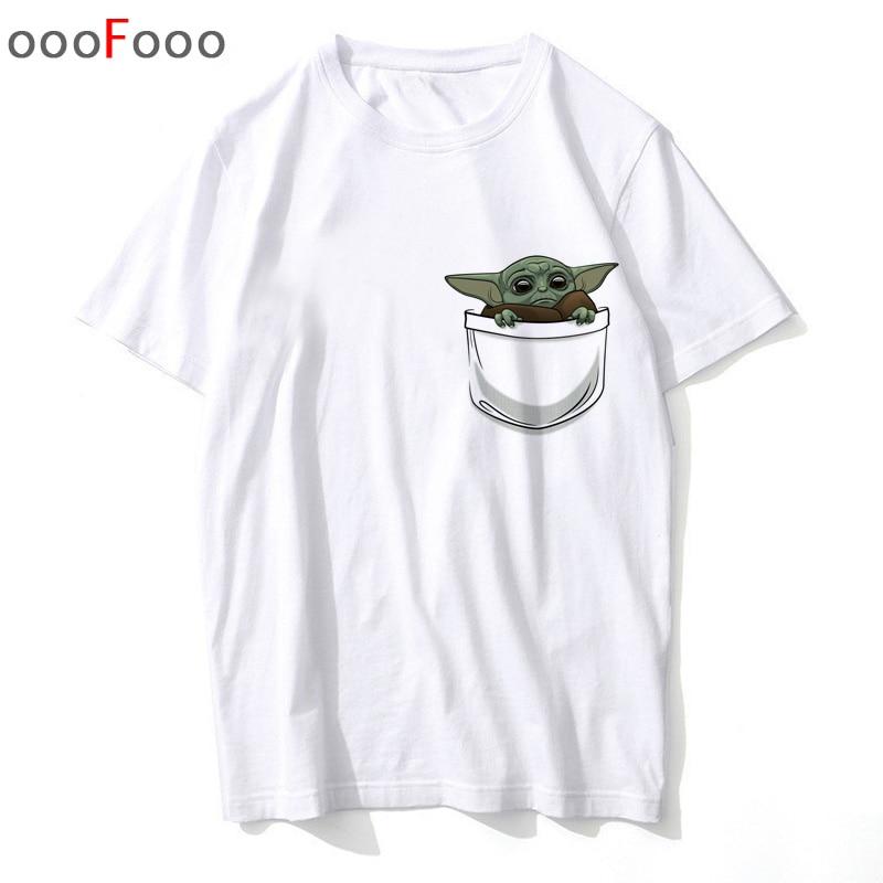 Baby Yoda In Pocket T Shirt Women Summer Top Plus Size Unisex The Mandalorian Cartoon Graphic T Shirts Anime Top Tees Female