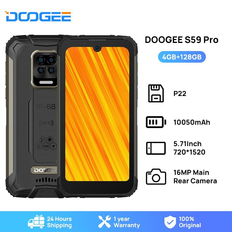 DOOGEE S59 Pro هاتف ذكي 10050mAh بطارية فائقة IP68/IP69K 4 + 128GB NFC هاتف محمول وعرة 2 واط صوت عال المتكلم الهواتف الخلوية