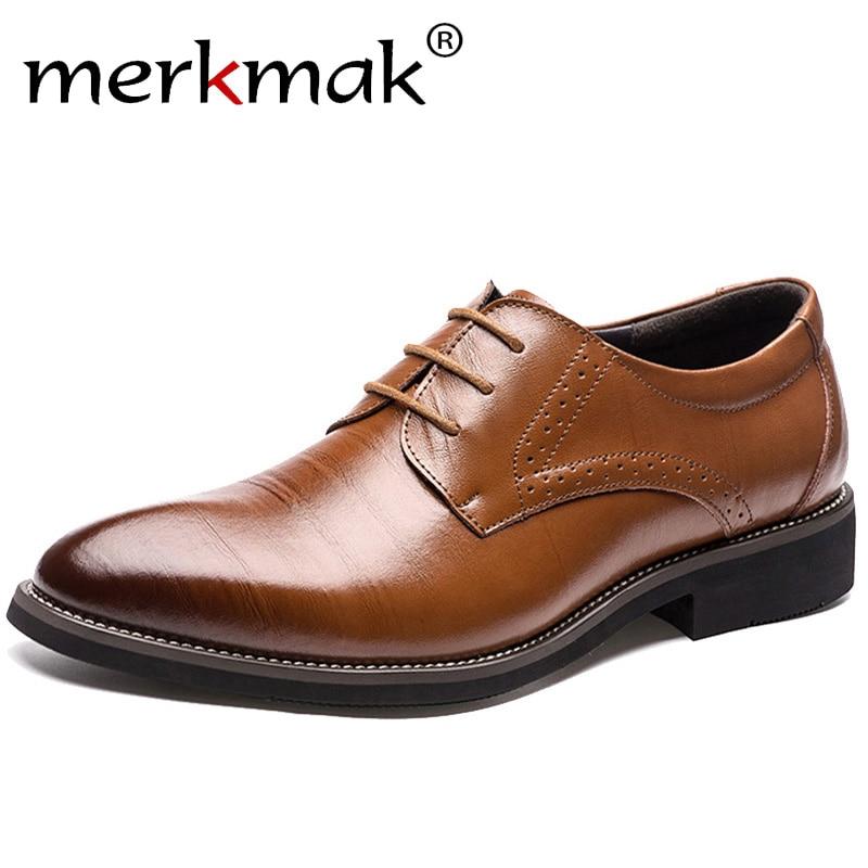 Мужские классические ботинки Merkmak, классические кожаные ботинки-броги на шнурках, деловые туфли-оксфорды