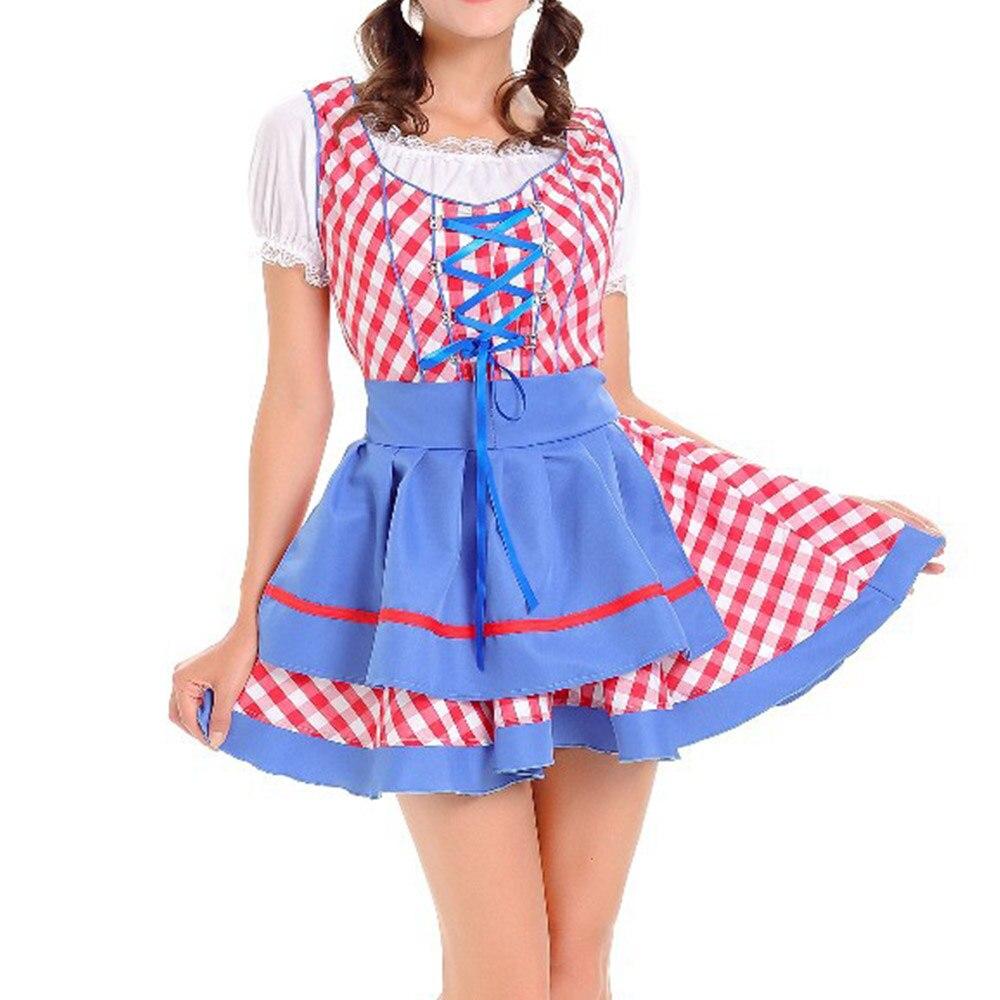 Spring Autumn Women Oktoberfest Halloween Plaid Print Cosplay Party Dress Short Casual Round Neck Short Sleeve Waitress Pullover
