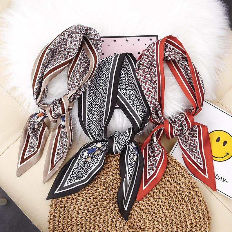 Bufanda Yishine de seda con ángulo afilado de 3 colores de 8,5x85cm para mujer, diseño de dibujos animados de perro pañoletas largas, bufandas, chal, pañuelo de chica, bolsa decorativa