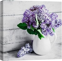 canvas wall art painting elegant lilac light purple and pink flowers in white china bottle modern home decoration posters