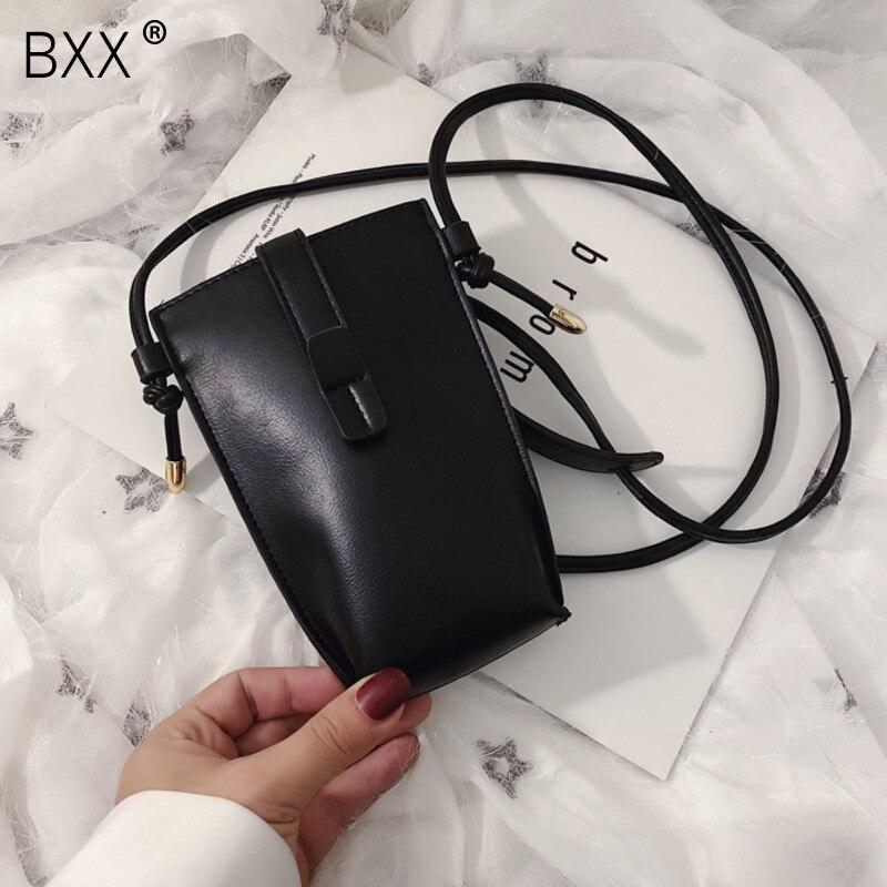 [BXX] Small PU Leather Crossbody Bags For Women 2021 Fashion Bucket Bag Mini Shoulder Phone Bag Female Simple Handbags HK443