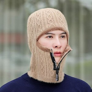 SILOQIN New Winter Warm Beanies For Men Thick Woolen Knitted Hat Men's Face Mask Hooded Earmuffs Hats Cold-proof Neck Ski Cap