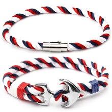 CUTEECO été ancre Bracelets pour hommes nautique survie en acier inoxydable corde chaîne paracorde Bracelet mâle Wrap métal cadeaux