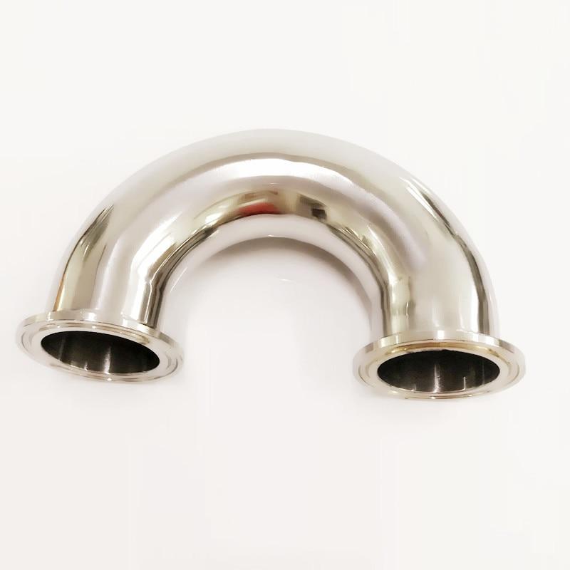 51 مللي متر O/D 304 الفولاذ المقاوم للصدأ الصحية الطويق 180 درجة الكوع وصلة أنابيب ثلاثي المشبك