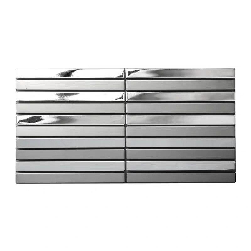 Precio de fábrica, tira de azulejo de mosaico de metal de acero inoxidable para cocina, baño contra salpicaduras, Adhesivo de pared DIY