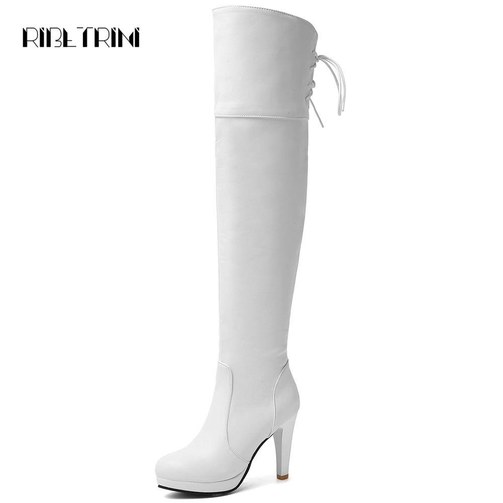 RIBETRINI botas de tacón alto por encima de las botas de rodilla 2019 negro blanco redondo botas de plataforma Otoño Invierno zapatos mujer grande tamaño 32-48