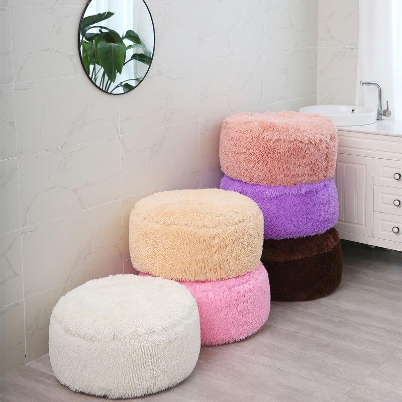 Encantadora suave de invierno cubierta de la silla para sala de estar dormitorio de lana de Coral inflables ronda fundas para taburete cubierta de reposapiés 55x25cm