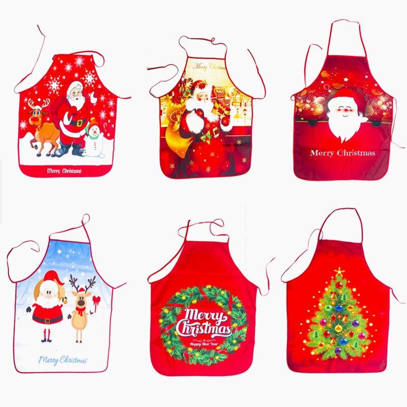 1 шт. красные рождественские фартуки, фартуки для взрослых с Санта-Клаусом, декор для ужина, домашняя кухня, приготовление пищи, Рождественск...