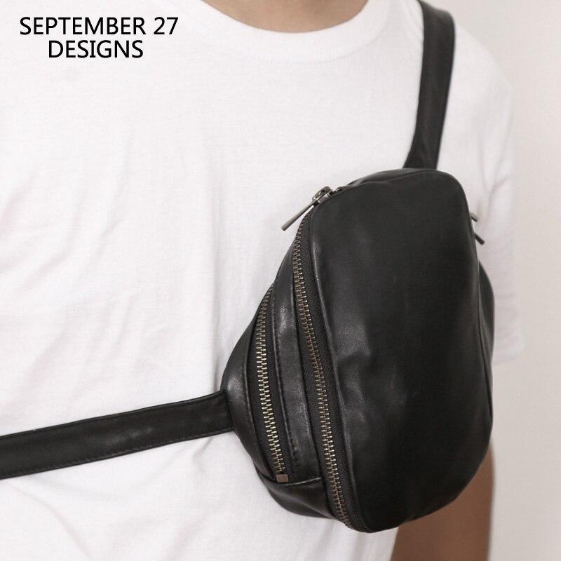 موضة جديدة صغيرة الصدر أكياس متعددة الوظائف حقيبة ساعي جلد طبيعي فاخر الذكور حقيبة يد كروس صغيرة للجنسين الخصر حزمة