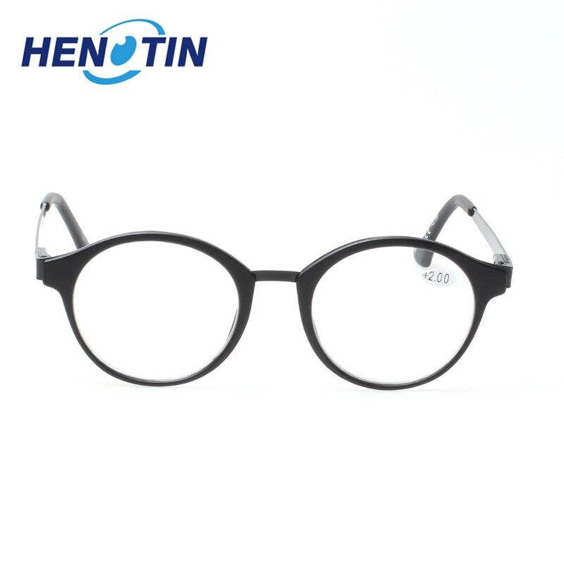 Henotin Metal Frame Glasses Fashion Retro Round Reading