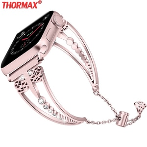 Women Diamond strap For Apple Watch band 38mm 42mm iWatch 5 4 3 band 40mm 44mm stainless steel strap Series 5 4 3 2 Accessories