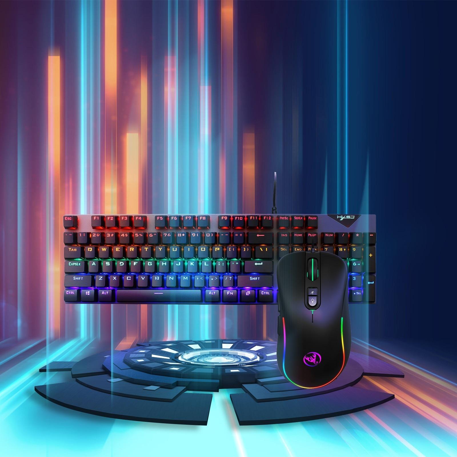 L300 + j300 104-key Rgb مضيئة الميكانيكية لوحة مفاتيح وماوس مجموعة مكتب الترفيه ل حاسوب شخصي مكتبي ألعاب كمبيوتر محمول