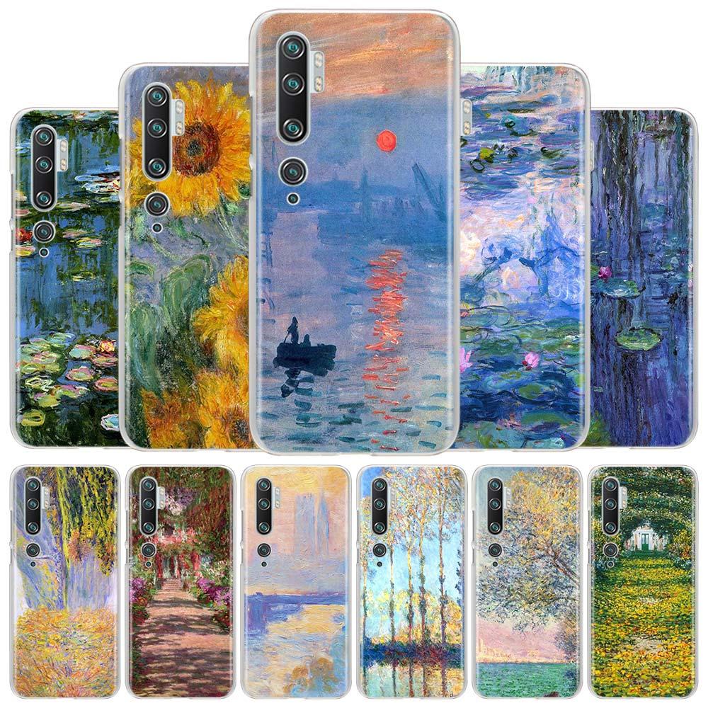 Coque de téléphone pour Xiaomi Mi 9 10 Lite 9T CC9E Note 10 Pro Poco X2 F2 X2 M3 X3 NFC couverture rigide Monet jardin Lotus étuis